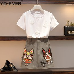 Perro de bolsillo blanco online-Las mujeres de manga corta de mariposa Apliques de algodón camisetas blancas Top + Perro de dibujos animados bordado de bolsillo A-Line Mini falda Set Plus Size