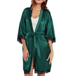 2-teiliges nachtkleid online-Sexy Frauen Robe Kleid Sets Spitze Bademantel + Nachtkleid Zwei Stücke Nachtwäsche Frauen Schlaf Set Faux Silk Robe Femme Dessous