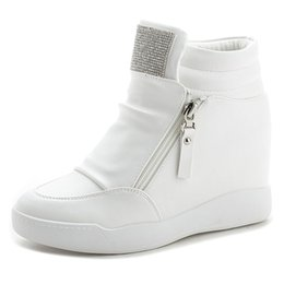 7540e9ee1cbb Wedge Platform Sneakers 8CM Hidden Heels Shoes Woman Fashion Rhinestone  Sweet Casual Sneakers Ladies Pu Leather Shoes White Black Color
