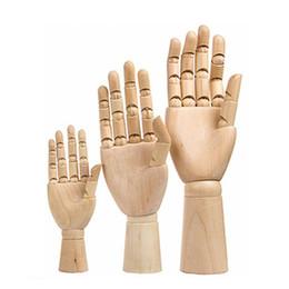 Decoración del hogar de madera online-Mano de madera Modelos dibujo de bosquejo Maniquí Modelo Decoración artista humano maniquí de madera PC 1 12 10 7 pulgadas de alto