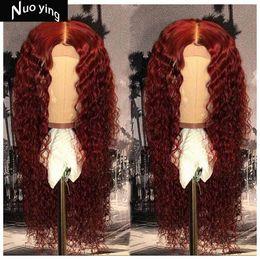 отбеливающие красные волосы Скидка Красный вьющиеся кружева перед парики человеческих волос отбеленные узлы перуанский парик волос реми 13 * 4 с волосами младенца для женщин 130% -ная плотность