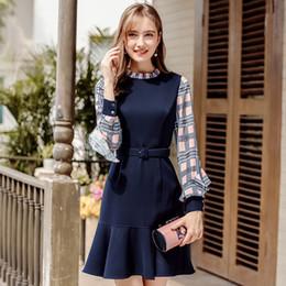 2018 Autunno Inverno Nuove donne maglione abito Stand collare Plaid  cucitura abito arruffato temperamento leggero cucinato più velluto 1fc6e759e8c