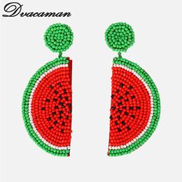 Dvacaman Boho Fruit Melancia Brincos para As Mulheres Personalidade Da Moda Resina Beads Declaração Brincos Dangle Jóias de Casamento supplier resin fruits de Fornecedores de frutas de resina