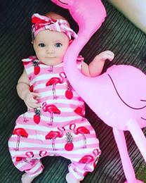 onesie sem mangas das meninas Desconto Bebê bonito Romper Flamingo Impresso Crianças Roupas de Verão Bebê Recém-nascido Menina Macacão Macacão de Algodão Sem Mangas Bebê Onesie One Piece Outfits