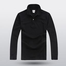 Livraison gratuite gros été nouveaux hommes senior polo shirt hommes polo à manches longues de mode décontractée hommes couleur unie revers revers polo shirt 8 ? partir de fabricateur