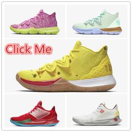 Yeni Kyrie 5 Erkek Basketbol Ayakkabı sarı kırmızı Tasarımcı Bay Krabs Sandy Kyrie 2 Yanaklar Spor Spor ayakkabılar CJ6951-700-600-300 CJ6953-600-100 nereden kamalar 12cm tedarikçiler