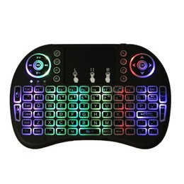 Беспроводные светодиодные клавиатуры онлайн-RGB Rechargeable LED Backlits 2.4GHz Wireless i8 Keyboard Touchpad  Air Mouse with Touchpad Remote Control Android TV Box
