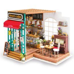casa in miniatura all'ingrosso diy Sconti Commercio all'ingrosso fai da te Simon's caffè con mobili per bambini adulti DG109 miniatura casa di bambola di legno modello kit di costruzione casa delle bambole giocattoli