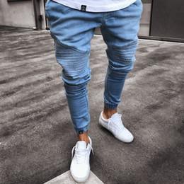 Jeanshose falten online-2019 neuer Mens Jeans Schwarz Blau dünne Bleistift-Jeanshosen gefaltete Knie Design-Jeans Homme S - 3XL