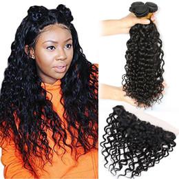 extensões de cabelo encaracolado indiano virgem Desconto Tramas de cabelo Virgem indiano Com 13X4 Ondas de Água Do Laço Frontal Feixes Com Laço Frontal Extensões de Cabelo Virgem 8-30 polegada Onda de Água Encaracolado