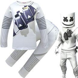 jeux de carnaval enfants Promotion Cosplay DJ Marshmello Costume pour enfants garçons filles Hauts / Pantalons / masque ensemble