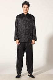 2019 camisa del dragón del fu del kung Camisa de kung fu de seda de satén de los hombres chinos negros traje pantalón tamaño dragón S M L XL XXL XXXL M0050-B rebajas camisa del dragón del fu del kung