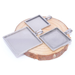 stainless steel necklace blanks Promo Codes - blank pendant cabochon base settings tray stainless steel square jewelry bezels for necklace pendant jewelry findings makings