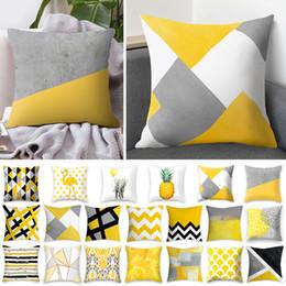 Almofadas amarelas on-line-Rosequeen 45x45 cm Amarelo Listrado Fronha Lance Geométrica Almofada Fronha Capa de Almofada Impressão Fronha Quarto Decoração de Escritório
