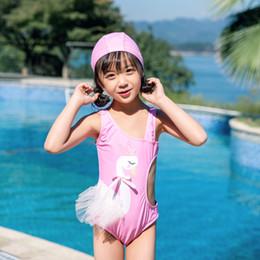 Menina um pedaço branco swimsuit on-line-2019 crianças one-piece ternos biquíni conjunto crianças do bebê meninas swimwear cisne branco swimsuit maiô roupas traje