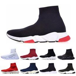Botas brancas baixas barato on-line-Balenciaga sock speed trainer Homens baratos Mulheres Trainer Velocidade de Luxo sapatos casuais Triplo preto branco vermelho Moda Plana Meias Botas Sapatilhas Formadores Sapatos