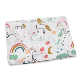 Couverture de poussette en Ligne-Couverture de bébé en mousseline pour nouveau-né emmailloté Licorne Flamingo INS couverture en pellicule couverture couverture pellicule couverture couverture 120 * 100 cm
