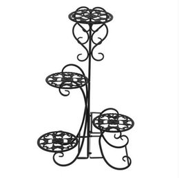 2019 flores potted ao ar livre Atacado Frete grátis 4 Potted Arredondado Flor Prateleiras de Metal Planta Pote Stand Decoração para Ao Ar Livre flores potted ao ar livre barato