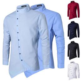 2019 camisa formal colar desenhos Zogaa 2019 Hot Cor Sólida Azul Clássico Projeto Formal Turn-down Collar Homens Camisas de Vestido de Manga Longa Homens De Negócios Camisas de Trabalho desconto camisa formal colar desenhos