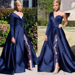 navy one shoulder dresses Promo Codes - Dubai One Shoulder Prom Dresses Pant Suits A Line Royal Navy High Split Long Sleeve Formal Party Gowns Jumpsuit Celebrity Dresses BC0282