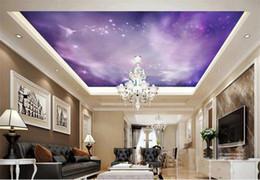 Custom 3d foto wallpaper techo salón mural púrpura ángel nebulosa techo pintura pohto 3d habitación de la pared mural wallpaper wallpaper no tejido etiqueta desde fabricantes