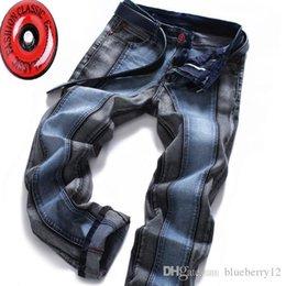 jeans di colore maschile Sconti Jeans Uomo Blu Nero Cuciture Color Matching Jeans Maschio europei e americani pantaloni di stirata pantaloni diritti più il formato