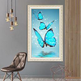 2019 pittura diamante blu 5D Diamante Ricamo Blu Rosa Farfalla Croce Punto DIY Diamante Pittura Full Diamond scenario strass Home Decor regalo sconti pittura diamante blu