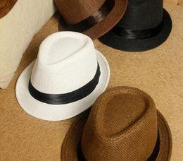 0eacd4fe9e257 Fashion Womens Mens Unisex Fedora Trilby Gangster Cap Summer Beach Sun Hats  Straw Panama Hat Couples Beach Hat Gilr Starw Hat