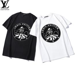 Planta de veludo on-line-2019 nova moda camiseta camisa dos homens novos astronautas de impressão de veludo planta no padrão de lua