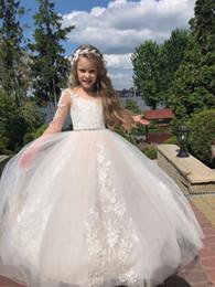 2019 цветок девушки платье зеленые стразы Жемчужина шеи без рукавов маленькие девочки театрализованное платье пуговицы назад длинный тюль цветок девушки платья для свадеб