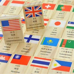 Argentina 100 unids / set divertido juego de dominó banderas de aprendizaje países del mundo juguetes educativos bandera nacional de madera dominó niños rompecabezas juguetes Suministro