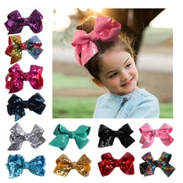 girls sequin ties Promo Codes - Kids Girls Sequins Clips 13 Colors 11CM Solid Bow-tie Ribbon Boutique Bowknot Hairpins Kids Designer Grosgrain Hair Claws Baby Barrettes 06