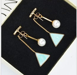 Pintando formas geométricas online-Versión coreana de la palabra flash diamante perla triángulo pintura aceite forma geométrica pendientes colgantes pendientes
