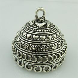 19029 4 adet / grup Vintage Gümüş Hollow Kalp Oval Totem Carve Telkari Kolye Püskül Kap Boncuk Kap nereden gümüş telkari kalp tedarikçiler
