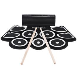 Portátil Eletrônico Roll Up Drum Pad Set 9 Almofadas de Silicone Alto-falantes Embutidos Com Baquetas Pedais Usb 3.5 Mm Cabo de Áudio Uk cheap usb silicon cable de Fornecedores de cabo de silicone usb
