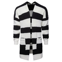 cfde3b0d75d Autumn color cardigan jacket Men s wear Euro-American trend of long  black-and-white striped knitted sweater YM018 inexpensive v neck sweater  men wear