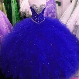 Quinceañera de cristal de tul online-Moda Royal Blue Sweet 16 Party Debutantes Vestidos Puffy Tulle Cristales Cariño Cuello Corset Volver Más tamaño Vestido de Quinceanera