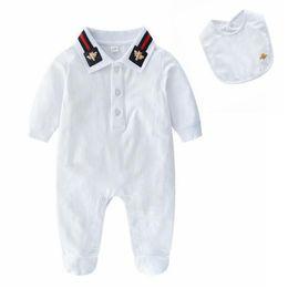 niños de la moda de los mamelucos Rebajas Moda bebé blanco mamelucos lindo de la historieta de la abeja de manga larga niños mono 100% algodón ropa de bebé