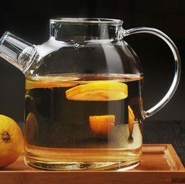термостойкий контейнер Скидка Стеклянный чайник Кувшин для воды Термостойкие цветочные чайники с крышкой из нержавеющей стали Крышка Прозрачный контейнер для сока Чайный сок Кувшин для воды KKA7403