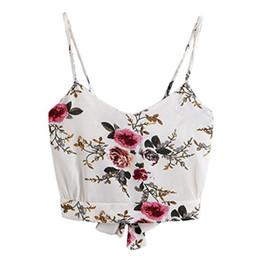 weißer v-ausschnitt cami Rabatt Crop Top Damen Weiß 2019 Cami Selbstgebundener Rücken Mit V-Ausschnitt Blumendruck Crop Cami Top Camisole-Bluse corto-30