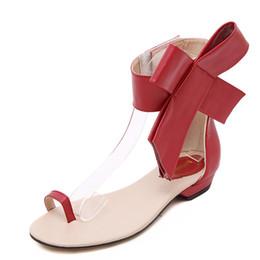 Sandalen große bögen online-EFFGT 2019 Frau Sandalen Casual Retro Bogen Big Bowtie Flats Sandalen Sommer Student Fashion Flats Frauen offene Schuhe