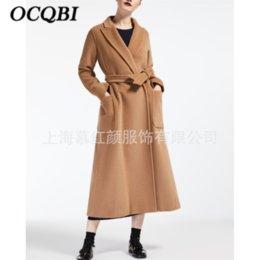 Abrigo de camello de cachemir de las mujeres online-2019 Camel Fashion Casual Cashmere Coat Diseñador elegante Ropa de invierno Mujeres Abrigos largos