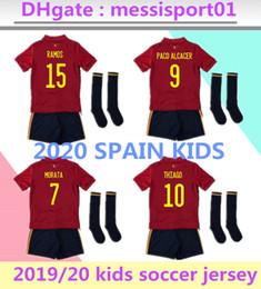 Spanische socken online-2020 Europen Tasse Spanien Kinder Fußball Jersey kit Socken RAMOS ISCO PIQUE SERGIO M. ASENSIO MORATA Kinder Spanien Heimtrikot Fußball Uniformen