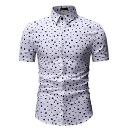 2019 rotes kariertes menskleidhemd Kariertes Hemd Herren Camisa masculina Mens Dress Shirts Casual Kurzarm Weiß Rot Hawaiian Shirts Mens Slim Fit günstig rotes kariertes menskleidhemd