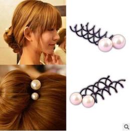 Bella 2 dimensioni perla spirale fermagli metallici fermagli nastro fissazione forcina strumenti per lo styling dei capelli HA057 da capelli barrette fatti a mano fornitori