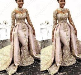 vestido de designer de renda azul real Desconto Designer de luxo Sereia Vestidos de Baile Com Trem Destacável Mangas Compridas Pescoço Alto Prom Vestidos de Cetim Lace Appliqued Plus Size Prom Vestidos