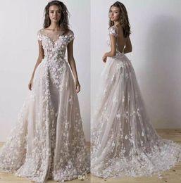 abito bianco musulmano Sconti Abiti da sposa a sirena Dimitrius Dalia con treno staccabile 2019 Abito da sposa senza spalline con farfalla floreale 3D collo a gioiello 3D