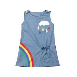 2019 vestido 3y niñas 6M-3Y Infant Kid Baby Girls Sin mangas Rainbow Vestido de mezclilla Una línea de vestido de princesa Fiesta Vestido de algodón Vestido de traje de fiesta vestido 3y niñas baratos