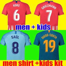 Camiseta de fútbol de Tailandia Atlético de Madrid 2018 2019 GRIEZMANN KOKE  GABI SAUL DIEGO COSTA GODIN 18 19 Adultos niños niños camiseta de fútbol ... 6feca14978db7