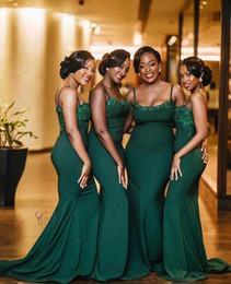 Esmeralda verde laço vestido de baile on-line-2019 verde esmeralda Africano sereia Vestidos dama de honra varredura rendas trem apliques Spandex do vestido de casamento dos visitantes Modest dama de honra Prom vestido